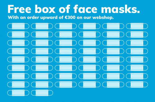 free box of face masks with an order upward of €300 euro